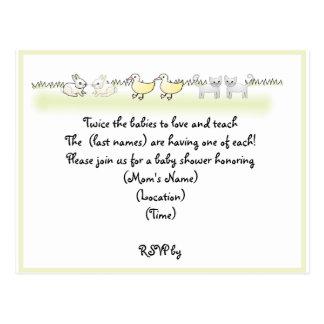 Kundenspezifische Doppeltier-Babyparty-Einladung Postkarte