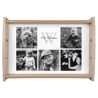 Kundenspezifische Familien-Foto-Collage Serviertabletts