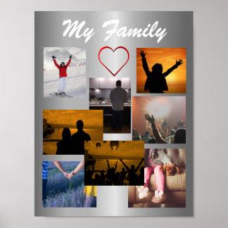 Kundenspezifische Familien-Foto-Collagen-Schablone Poster