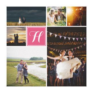 Kundenspezifische FarbFoto-Collage mit Monogramm Leinwanddruck