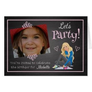 Kundenspezifische Foto-Mädchen-Geburtstags-Party Karte