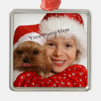 Kundenspezifische Foto-Prämien-Verzierung Silbernes Ornament