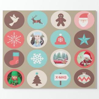 Kundenspezifische Foto-Weihnachtsikonen-große Geschenkpapier
