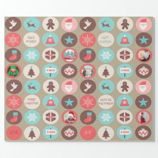 Kundenspezifische Foto-Weihnachtsikonen-kleine Geschenkpapier