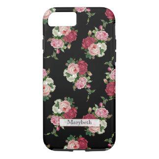 Kundenspezifische Girly Hütten-Blumen-Schwarzer iPhone 8/7 Hülle