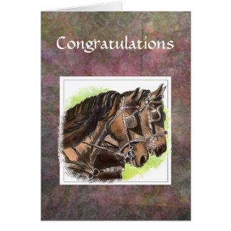 Kundenspezifische Glückwünsche, - Team-Pferde, Karte