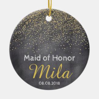 Kundenspezifische Goldtafelconfetti-Gastgeschenk Keramik Ornament