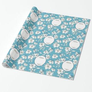 Kundenspezifische hellblaue Hochzeit Geschenkpapier