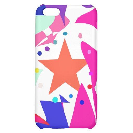 Kundenspezifische Hintergrund-Farborange Stern iPhone 5C Hüllen