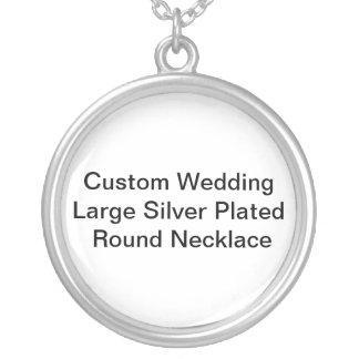 Kundenspezifische Hochzeits-großes Silber Halskette Mit Rundem Anhänger