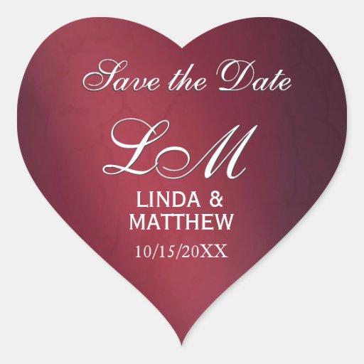 Kundenspezifische Hochzeits-Logo-Aufkleber - Herz