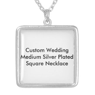Kundenspezifische Hochzeits-mittlere versilberte Halskette Mit Quadratischem Anhänger