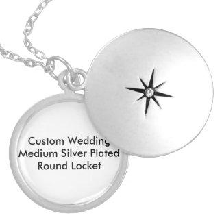 Kundenspezifische Hochzeits-mittleres Silber Runde Medaillon Halskette