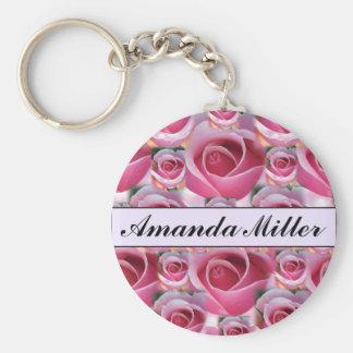 Kundenspezifische hübsche rosa Rosen Name, Initial Standard Runder Schlüsselanhänger