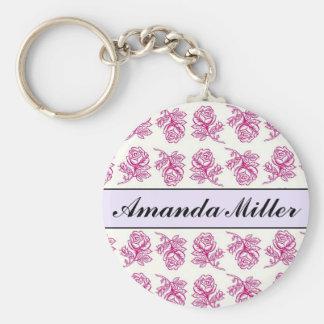 Kundenspezifische hübsche rosa Rosen Name, Standard Runder Schlüsselanhänger