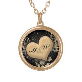 Kundenspezifische Initialen, Liebe-goldene Halskette Mit Rundem Anhänger