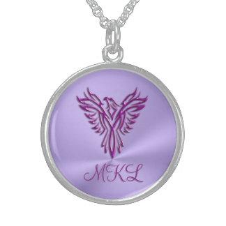Kundenspezifische Initialen - lila Phoenix, das Sterling Silberkette