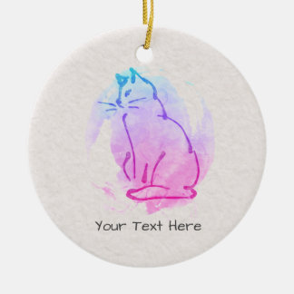 Custom Cat Watercolor Sketch - Your Text on this