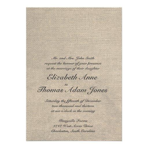 Kundenspezifische Leinwand-Hochzeits-Einladung