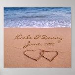 Kundenspezifische Liebe auf dem Strand-Plakat mit