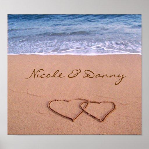 Kundenspezifische Liebe auf dem Strand-Plakat