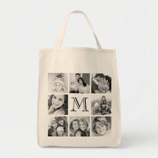Kundenspezifische Monogramm-Foto-Collage Einkaufstasche