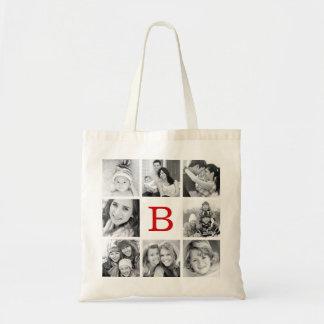 Kundenspezifische Monogramm-Foto-Collage Tasche