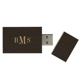 Kundenspezifische Monogramm-Initialen-eleganter Holz USB Stick 2.0