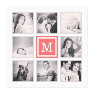 Kundenspezifische Monogramm Instagram Foto-Collage Leinwanddruck