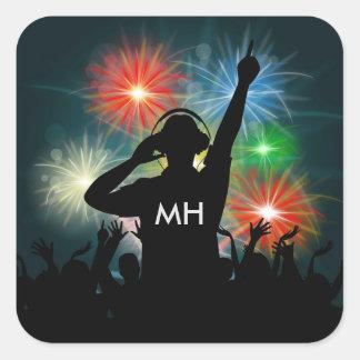 Kundenspezifische Monogrammaufkleber Musik DJ Quadratischer Aufkleber
