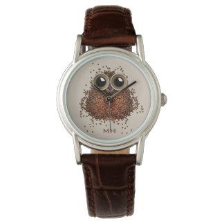 Kundenspezifische Monogrammuhren der Kaffee-Eule Armbanduhr