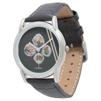 Kundenspezifische Monogrammuhren der Sushi Uhr