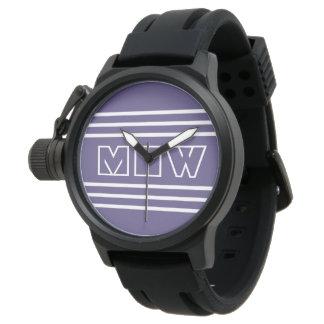 Kundenspezifische Monogrammuhren der violetten Armbanduhr
