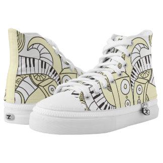 Kundenspezifische musikalische Klavier-Gekritzel Hoch-geschnittene Sneaker