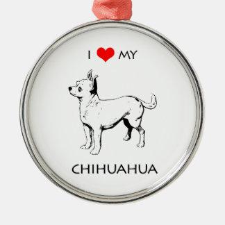 Kundenspezifische niedliche i-Liebe mein Chihuahua Silbernes Ornament
