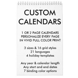 """Kundenspezifische personalisierte Single-Seite 11"""" Kalender"""