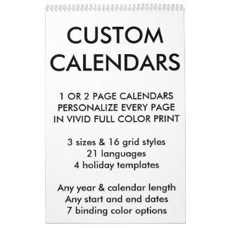 """Kundenspezifische personalisierte Single-Seite 17"""" Wandkalender"""