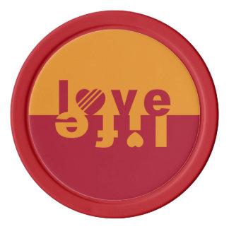 Kundenspezifische Pokerchips der Liebe/des Lebens