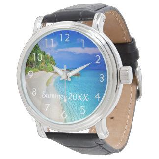 Kundenspezifische Reise- und Ferien-Fotouhr mit Uhr
