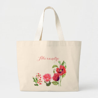 Kundenspezifische rosa Blumen-Blumenkunst Jumbo Stoffbeutel