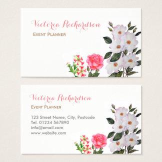 Kundenspezifische rosa Blumen-Blumenkunst Visitenkarte
