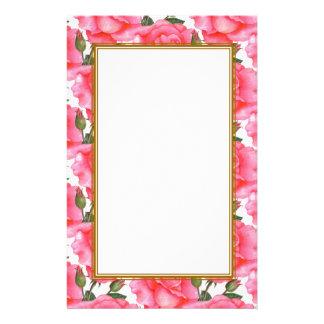 Kundenspezifische rosa Rosen-Blumenkunst Briefpapier