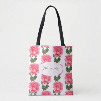 Kundenspezifische rosa Rosen-Blumenkunst Tasche