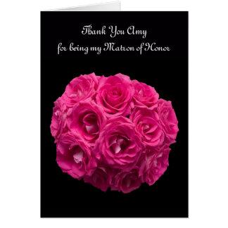 Kundenspezifische rosa Rosen-Matrone der Ehre Karte