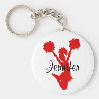 Kundenspezifische rote Cheerleader-Schlüsselkette Standard Runder Schlüsselanhänger