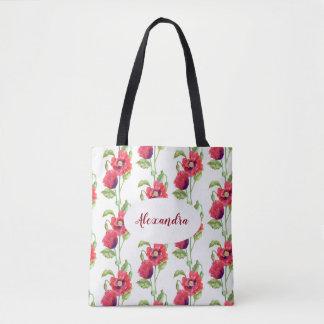 Kundenspezifische rote Mohnblumen-Blumenkunst Tasche