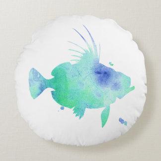 kundenspezifische Schatten der blauen Fische Rundes Kissen