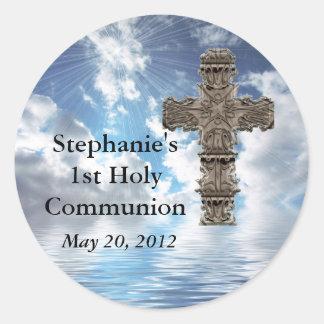 Kundenspezifische schöne 1. heilige Kommunions-Auf Runder Aufkleber