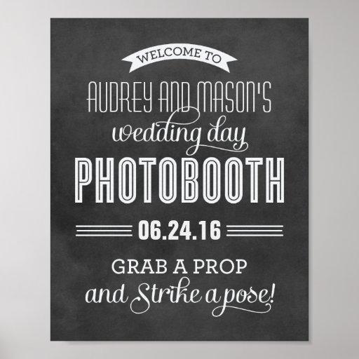 Kundenspezifische schwarze Tafel des Hochzeits-Fot Posterdruck