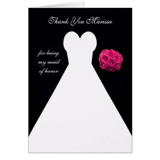 Kundenspezifische schwarze Trauzeugin danken Ihnen Grußkarte